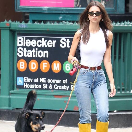 Emily Ratajkowski's Fall Knee High Boots Are Mustard Yellow