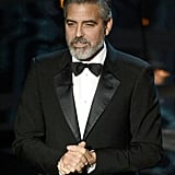 George Clooney took the stage at the 2013 Oscars.