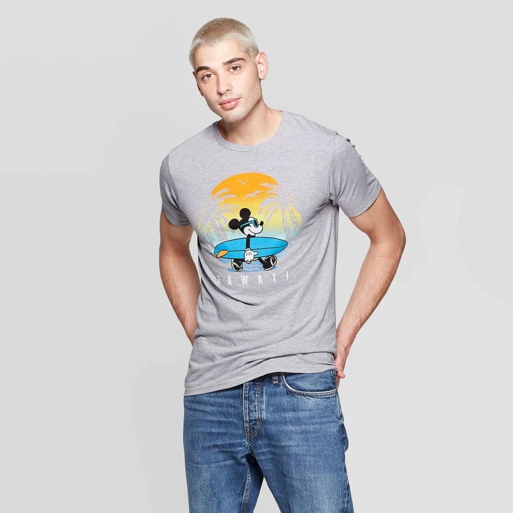 Men's Disney Mickey Mouse Short Sleeve Crewneck Hawaii Sunset Mickey Graphic T-Shirt