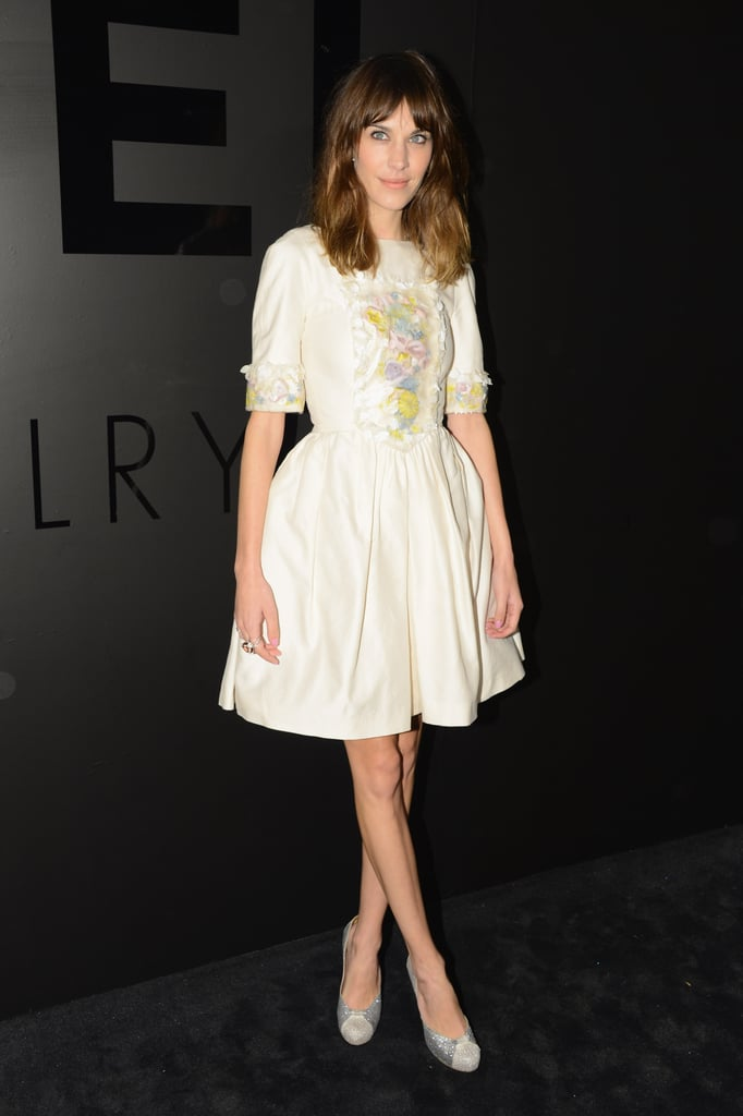 Alexa Chung wore Tabitha Simmons pumps to complement her Chanel dress.