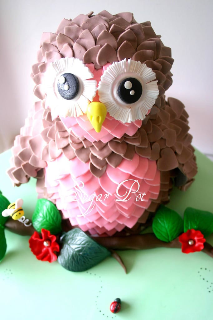Pink and Brown Owl Cake Girls Birthday Cakes POPSUGAR Moms