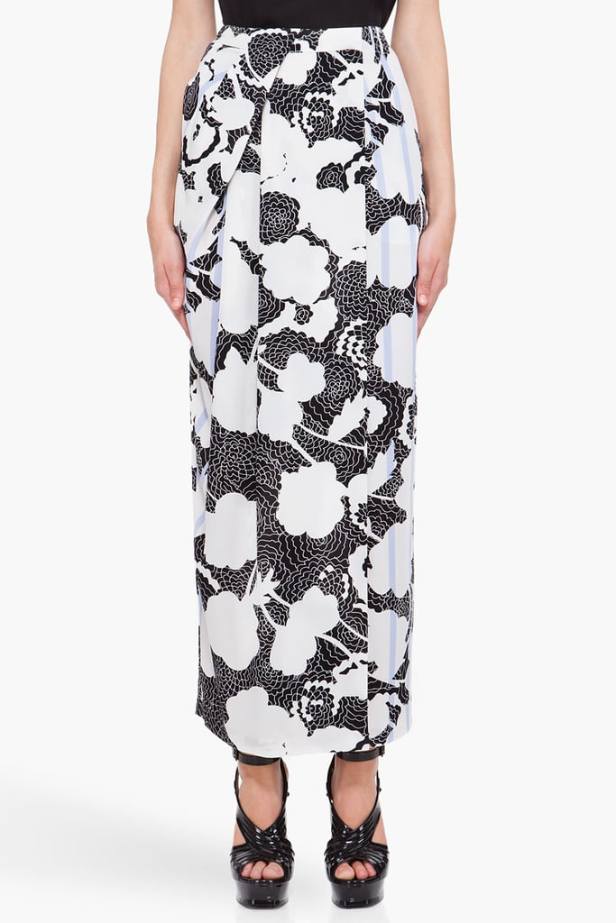 The deconstructed floral print is gorgeous, and the intricate attention to feminine pleats and lavender stripe accents is to die for — we would definitely wear this to a Summer wedding. Diane von Furstenberg Floral Silk Chyenne Skirt ($210, originally $300)