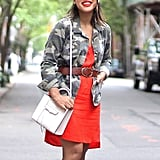A Jacket Belted Over a Dress