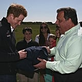 New Jersey Governor Chris Christie presented Prince Harry with a fleece after joking about keeping him fully clothed during his visit to the Jersey Shore. Source: Twitter user GovChristie