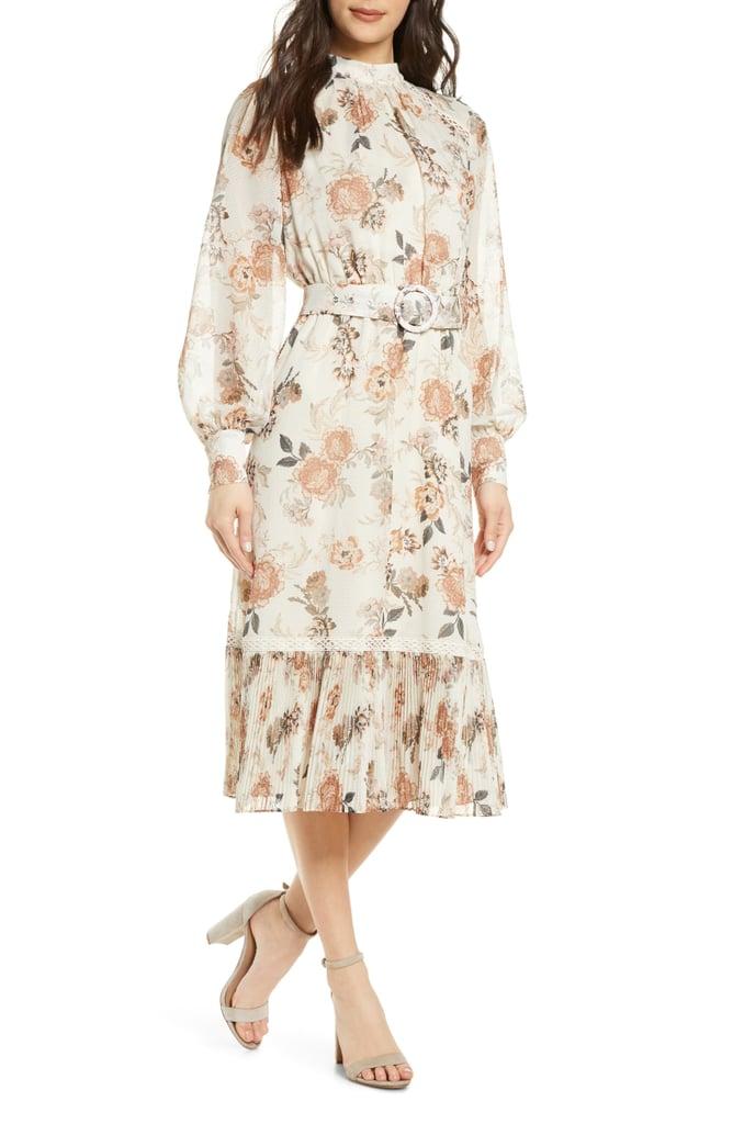 Ever New Floral Pleat Flounce Long Sleeve Dress