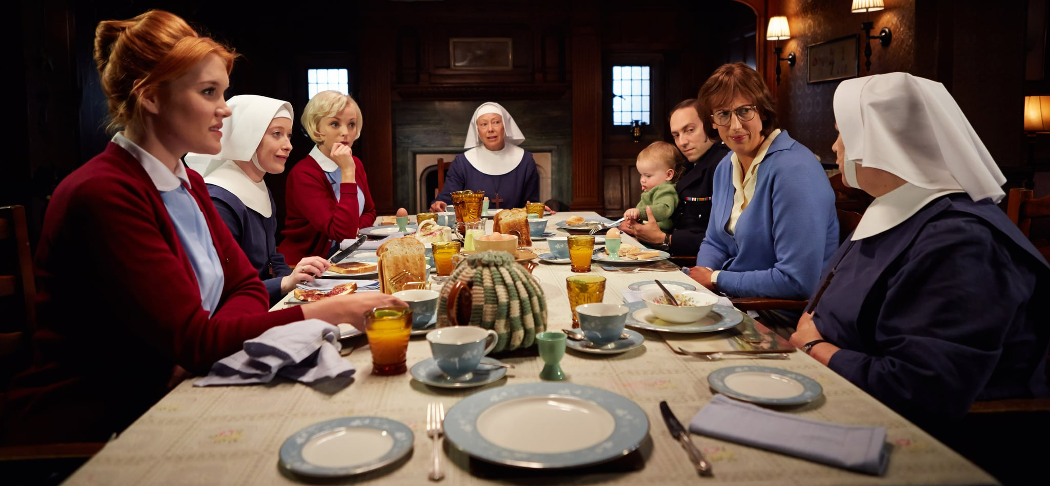 CALL THE MIDWIFE, (from left): Emerald Fennell, Victoria Yeates, Helen George, Jenny Agutter, Ben Caplan, Miranda Hart, Pam Ferris (back to camera), (Season 4, ep. 401, aired Jan. 18, 2015 in UK/aired March 29, 2015 in US). photo: Robert Viglasky / Neal Street Prod./PBS /courtesy Everett Collection