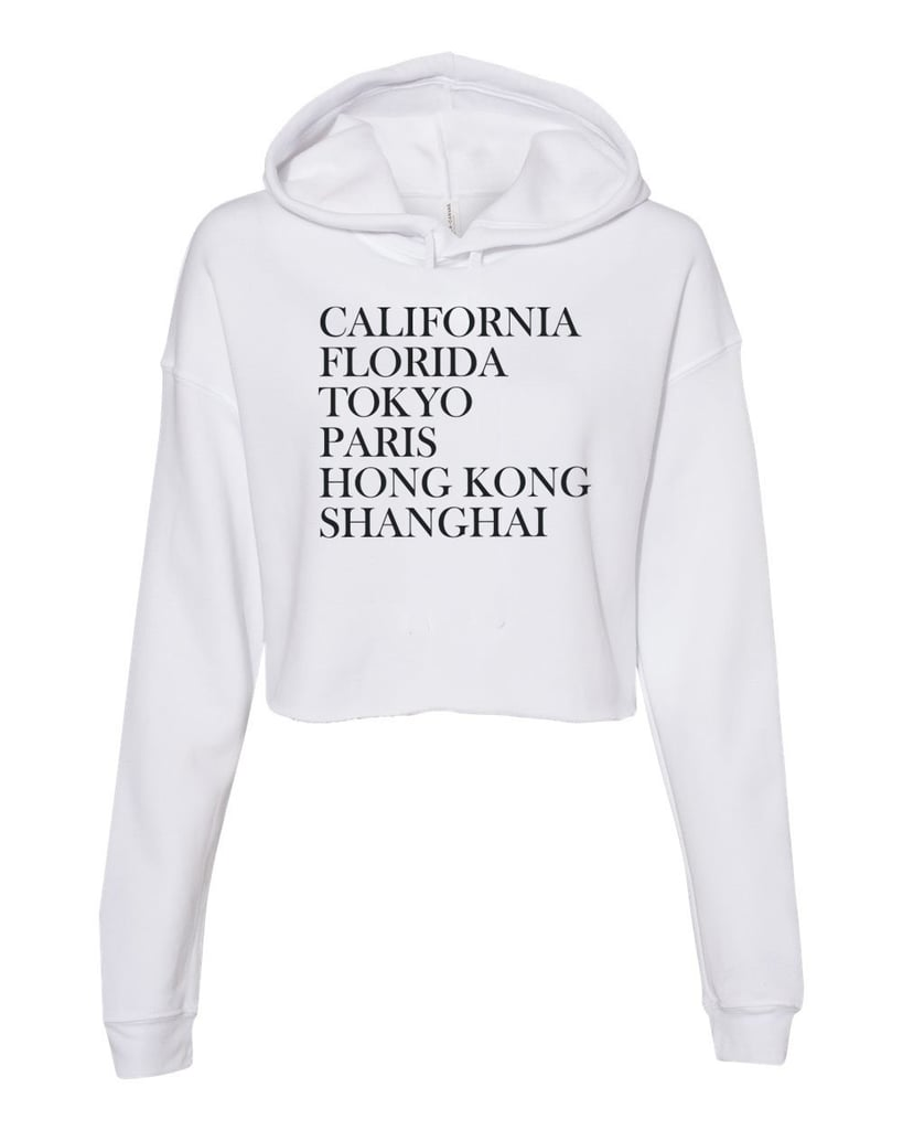 Magical Destinations Women's Cropped Fleece Hoodie in White