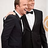 Breaking Bad stars Aaron Paul and Bryan Cranston laughed on the red carpet.