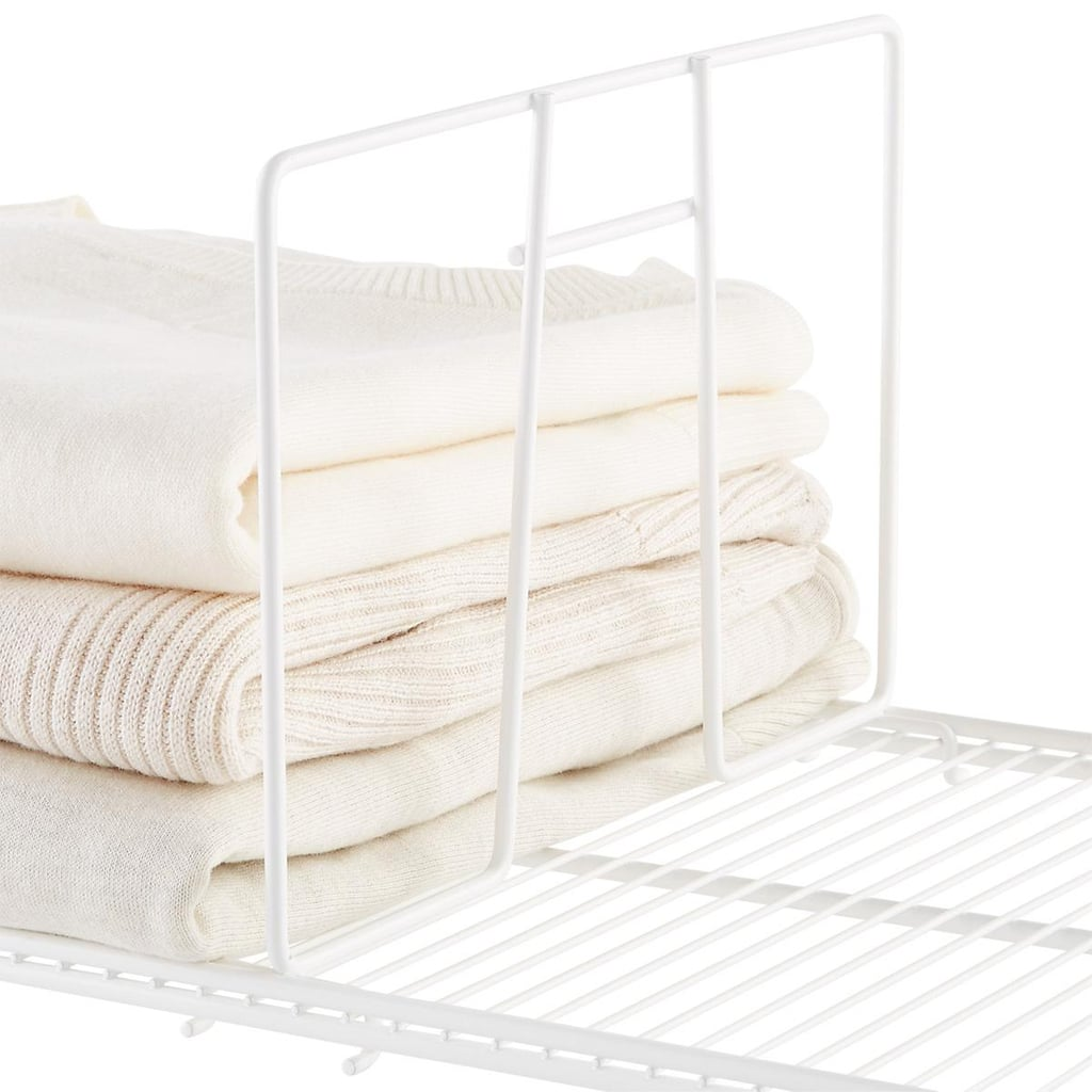 White Elfa Ventilated Wire Shelf Dividers