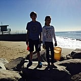 """His kids were """"little ocean crusaders"""" cleaning up the beach in January 2015."""