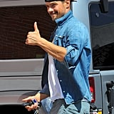 Josh Duhamel flashed a thumbs up while out on Monday in LA.