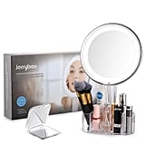 Jerrybox LED Lighted Makeup Mirror With Acrylic Makeup Organizer