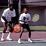 Serena and her dad, Richard, practicing together in 1991 in Compton, CA.