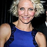 Cameron Diaz had her hair very short and curly for the Weinstein Company's Golden Globes after party.