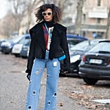With your favorite sneakers and a boxy jacket