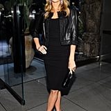Stacy Keibler took her LBD from simple to sublime with the addition of a cropped black leather jacket at Dolce & Gabbana's Fifth Avenue flagship opening.