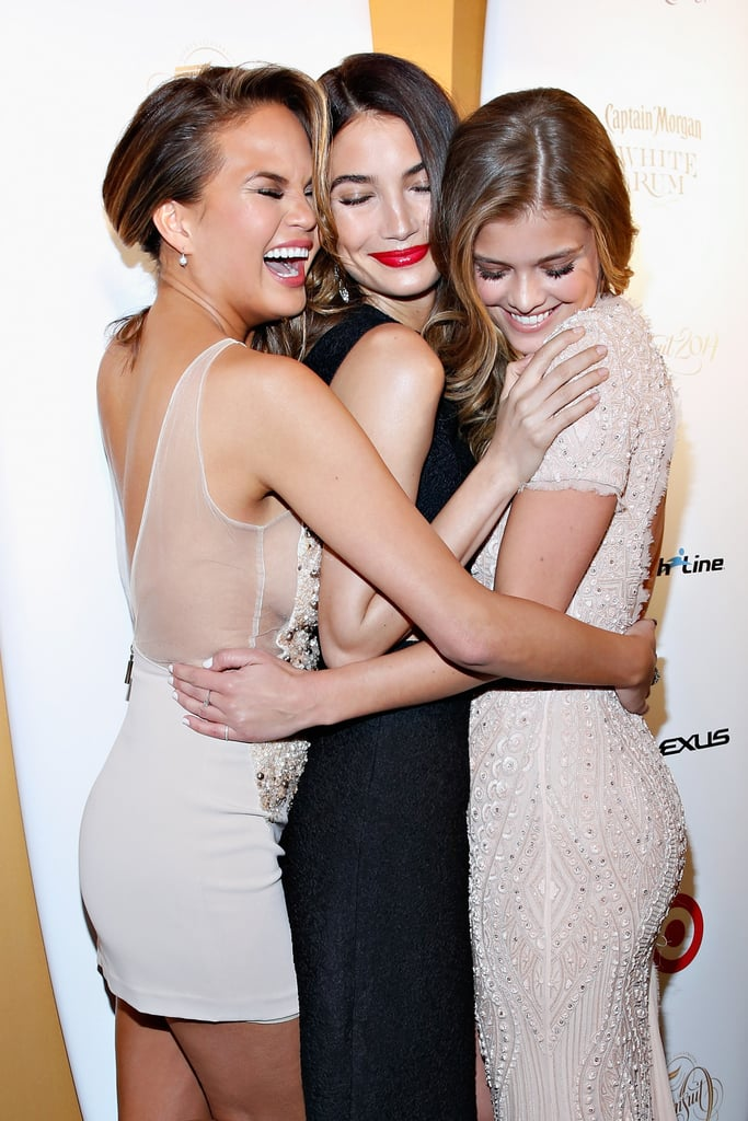Sports Illustrated's 50th anniversary issue cover girls, Chrissy Teigen, Lily Aldridge, and Nina Agdal, got cozy at a party celebrating the issue in NYC.