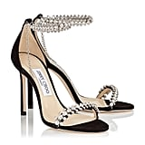 Jimmy Choo Shiloh 100 Black Suede Open Toe Sandal