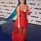 Vanessa Hudgens Wearing Red Yanina Couture Dress VMAs 2017