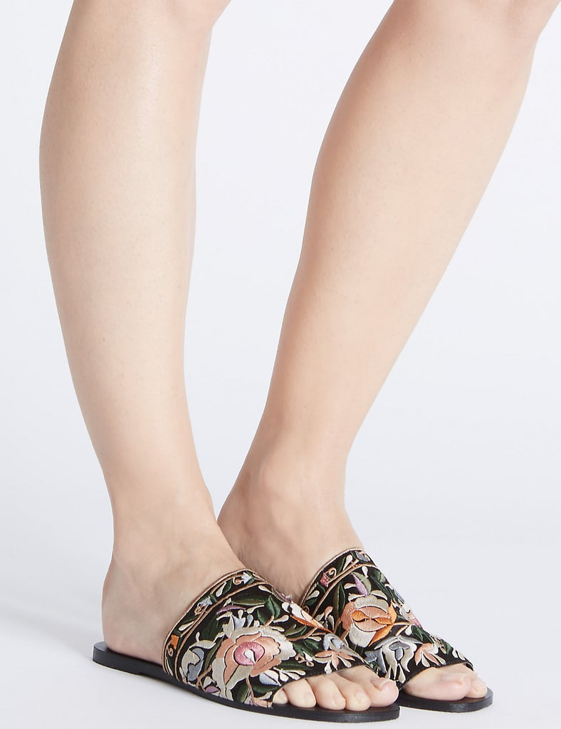 Embroidered Mule Sandals (£35)