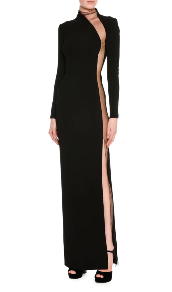 Tom Ford Illusion-Panel Silk Long-Sleeve Gown