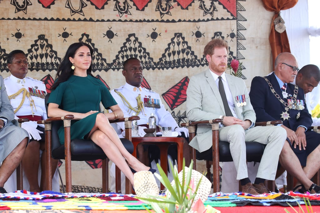 Meghan Markle is saying goodbye to Fiji in style. The Duchess of Sussex and her husband, Prince Harry, stepped out in Nadi on Oct. 25 as part of their 16-day tour of the South Pacific, and Meghan opted for a Jason Wu sheath dress ($1,695) for the occasion. We've seen Meghan shake up her maternity style several times as part of this royal adventure, but this outfit is unlike anything else she's worn so far.  While Meghan's midi dress may appear straightforward at first glance, it actually features a unique pleated shoulder detail along with angular sleeves. She paired this Jason Wu number with gold Pippa Small drop earrings, matching bangles, and her trusty Manolo Blahnik pumps. Ahead, see more snaps of the sophisticated ensemble, and then check out Meghan's best style moments since becoming a royal.       Related:                                                                                                           Exactly What You Can Buy From All of Meghan Markle's Royal Tour Looks