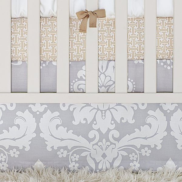 Tess Dove Damask Crib Skirt ($88)