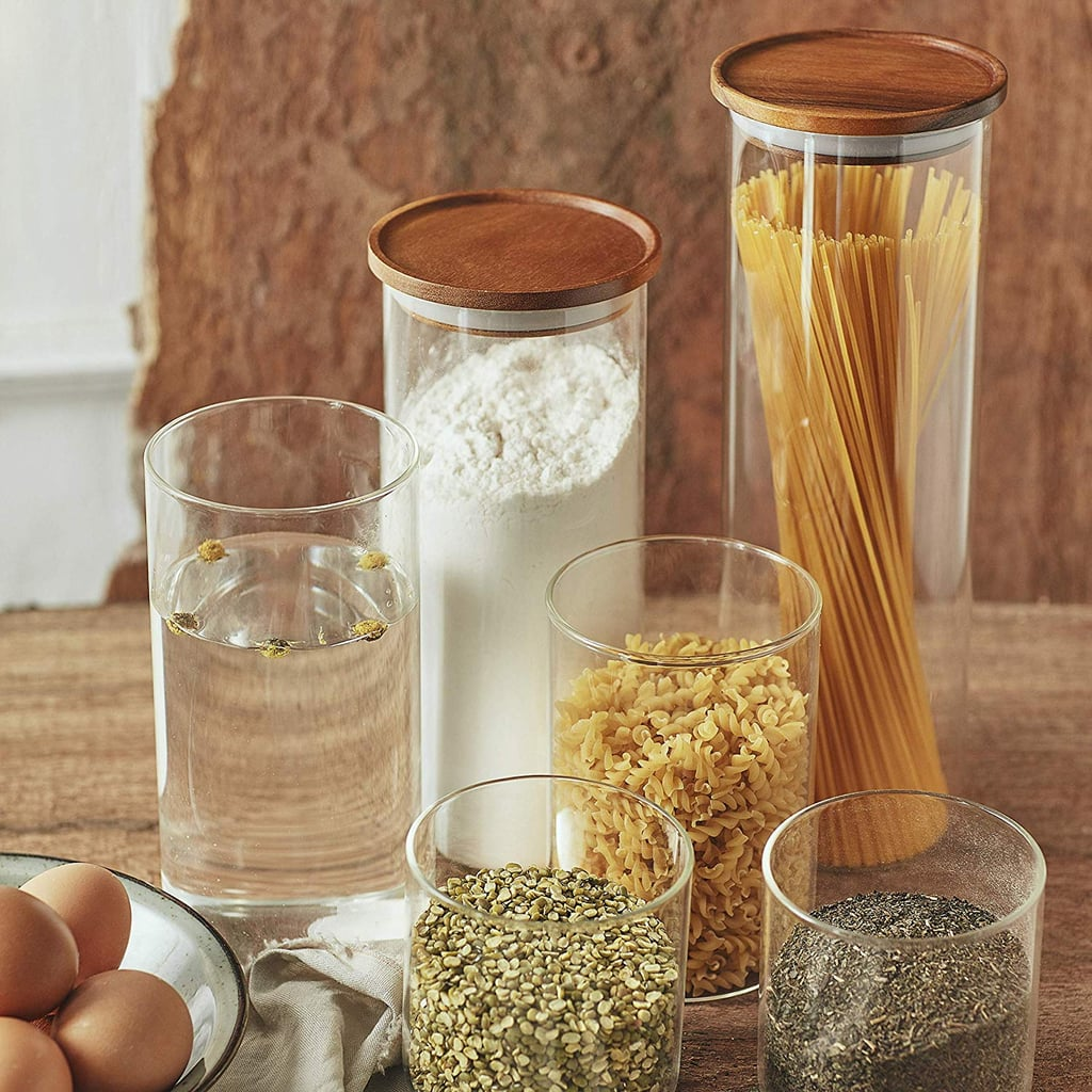 Essos Glass Jars with Wood Lids Set