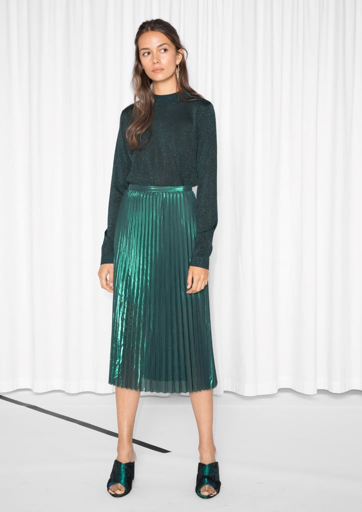 & Other Stories Pleated Emerald Skirt