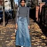 Opt For a Gray Turtleneck Sweater