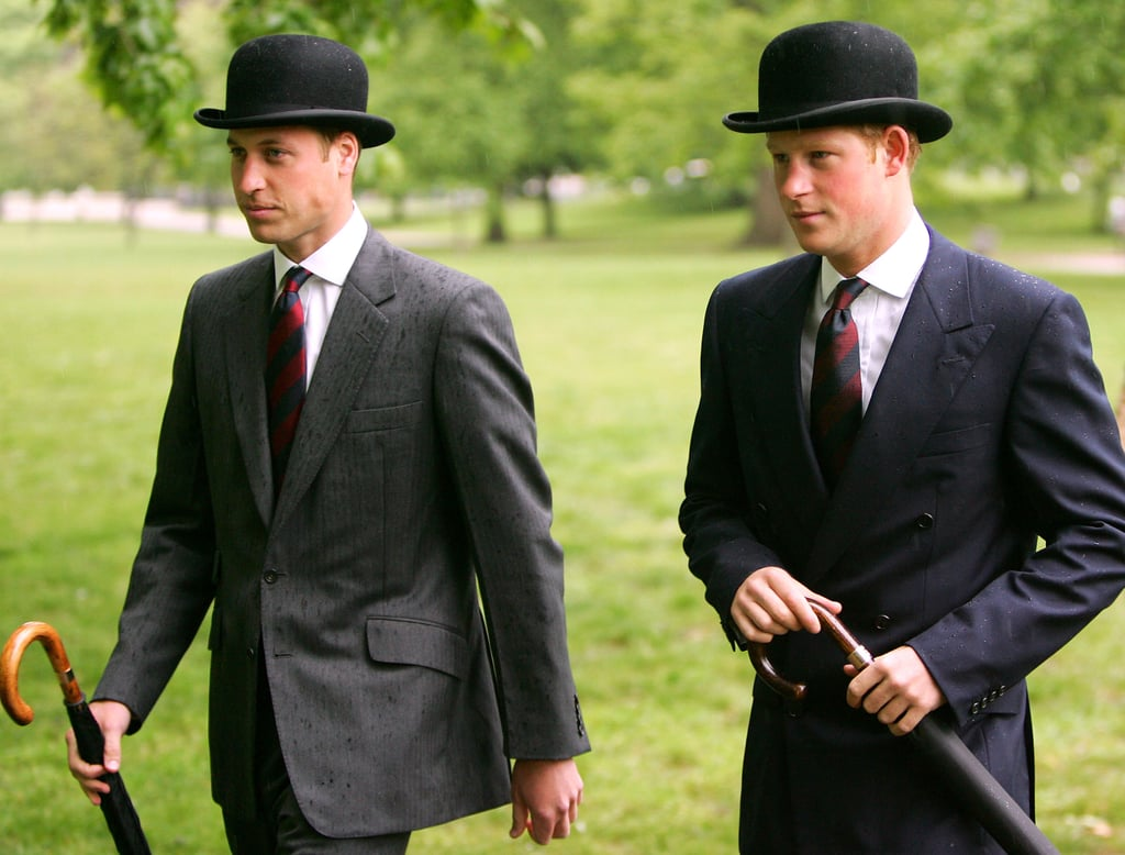 The princes sported matching hats for the Cavalry Old Comrades Association Annual parade in London in May 2007.