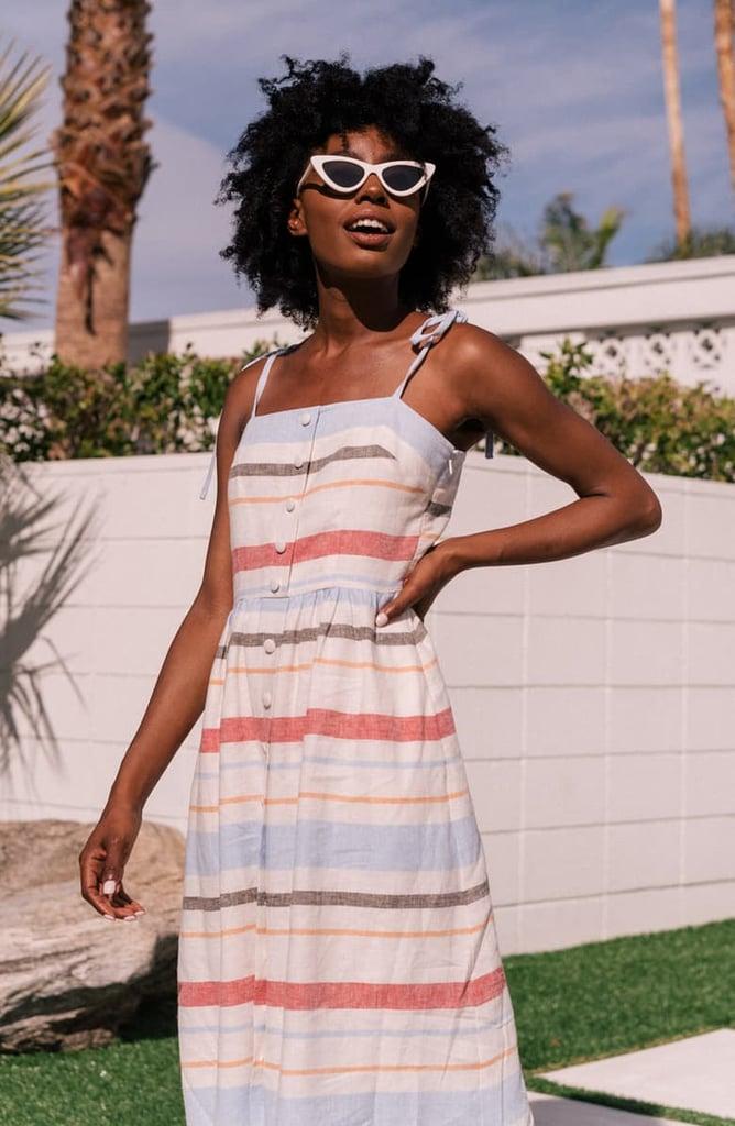 Gal Meets Glam Collection Hattie Stripe Linen Blend Sundress