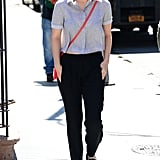 Even when Kate's relaxing in comfy clothes, her hair helps elevate her outfits. Rather than reaching for another tee, the star opted for something with a collar, making her day-off look seem a little more polished.