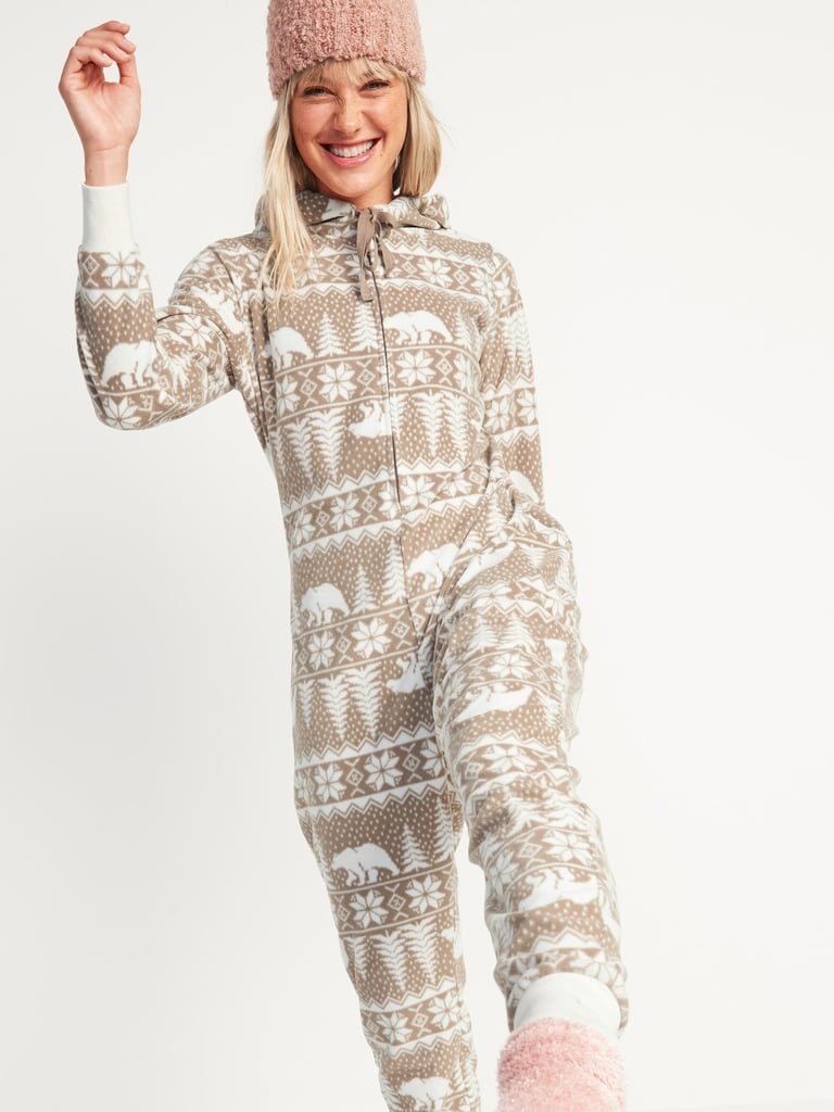 Patterned Micro Performance Fleece Hooded One-Piece Pajamas