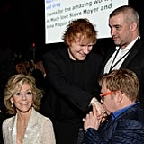 Elton kissed Ed's hand inside the bash.