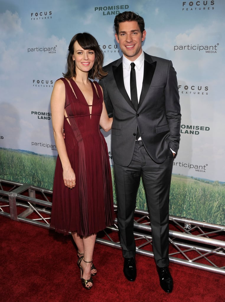 Rosemarie Dewitt and John Krasinski attended the Promised Land  premiere in NYC.