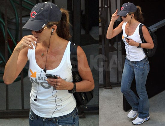 Jennifer Aniston Is Sporty From Her Hat To Her Shoes