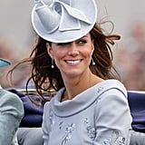 The Duchess attended Trooping the Colour in an embellished silver-grey Erdem dress.