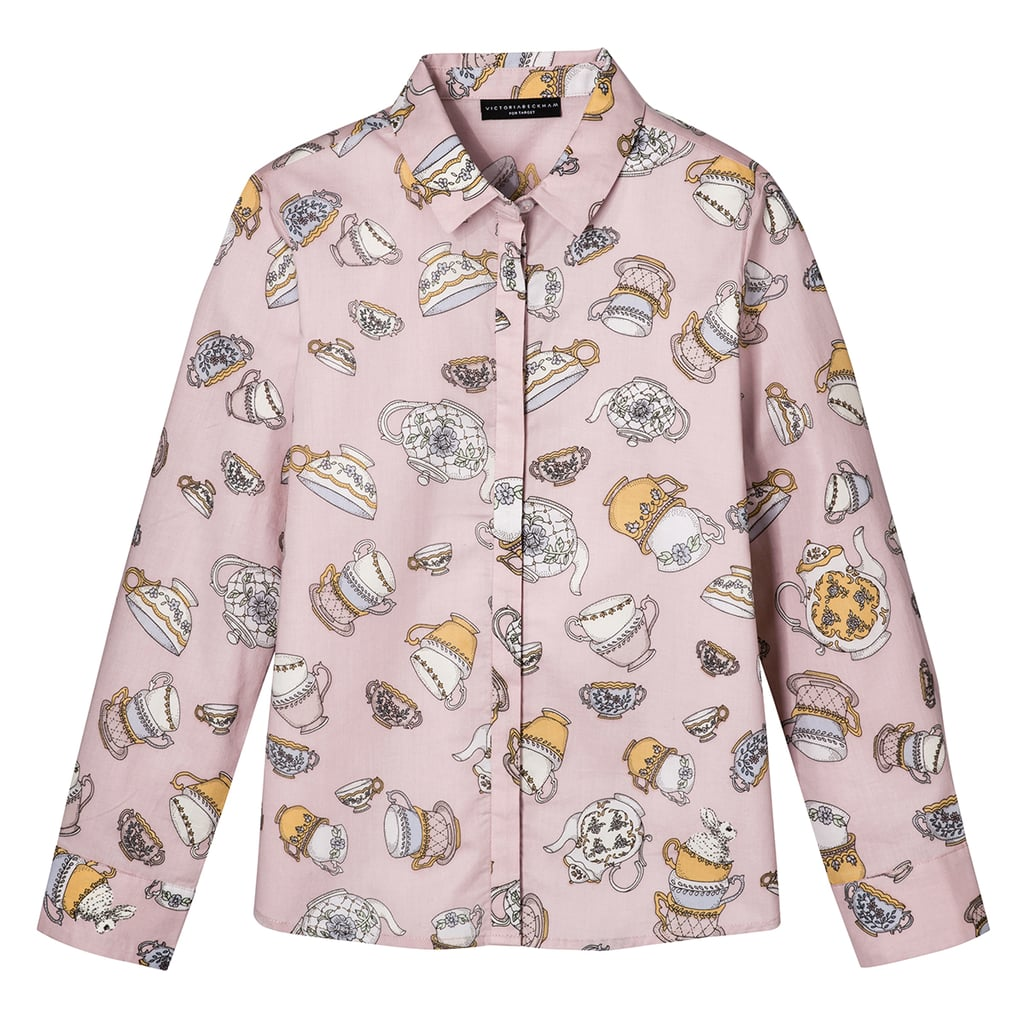 Girls' Blush Tea Party Printed Button Down Top ($20)