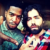 Adrian Grenier hung out on the set of his undisclosed movie with rapper Kid Cudi. Source: Instagram user adriangrenier
