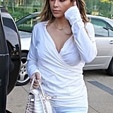 Kim's top showed her cleavage.