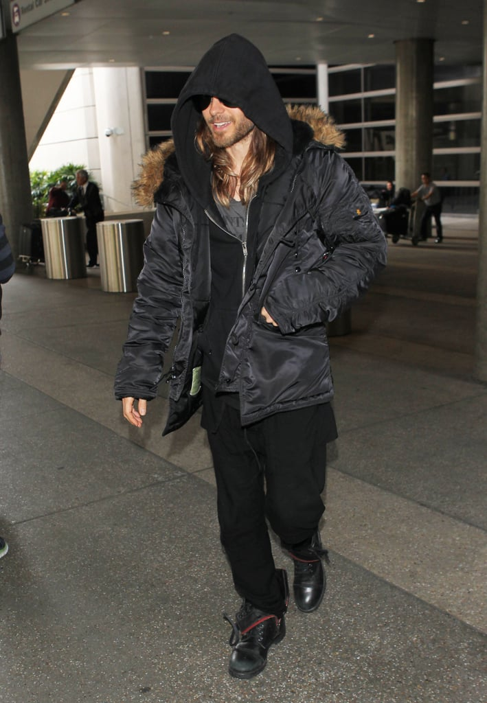 Jared Leto arrived in LA on Thursday ahead of the Oscars.
