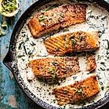 Garlic Butter Creamed Spinach Salmon