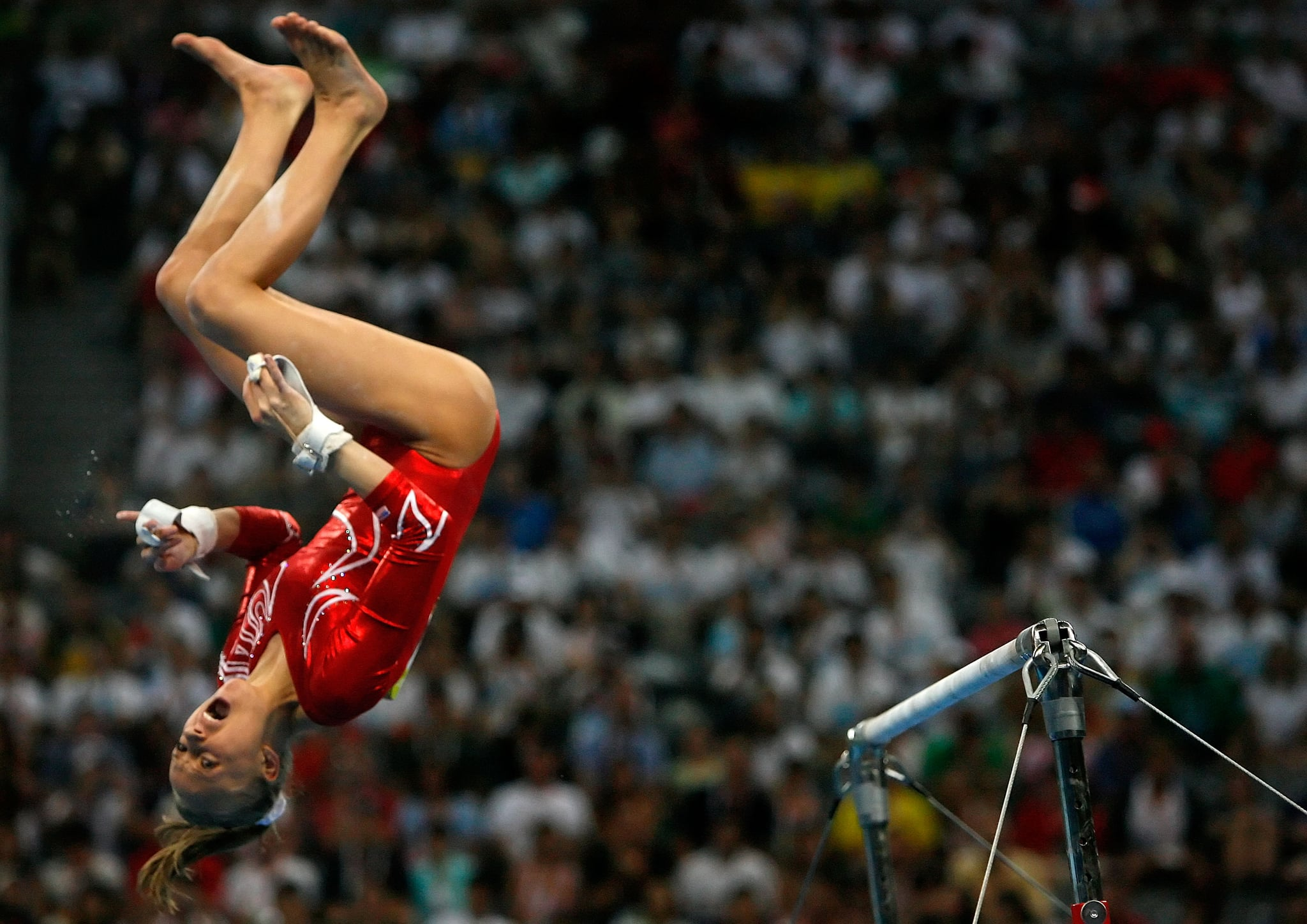 Nastia Liukin of the United States competes in the uneven bars.