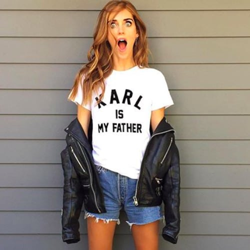 Karl Is My Father Slogan T-Shirt Trend Seen on Kylie Jenner