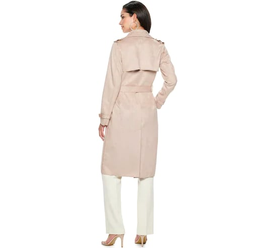 Nine West Belted Faux-Suede Trench Coat