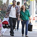 Ben Affleck carried his son Samuel to the post office with mom Jennifer Garner.