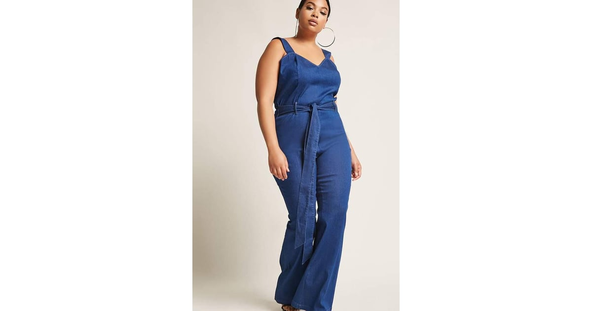 fa4d8618d12 Forever 21 Denim Overall Flare Jumpsuit