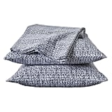 Queen Blue Crosshatch Sheet Set ($53)
