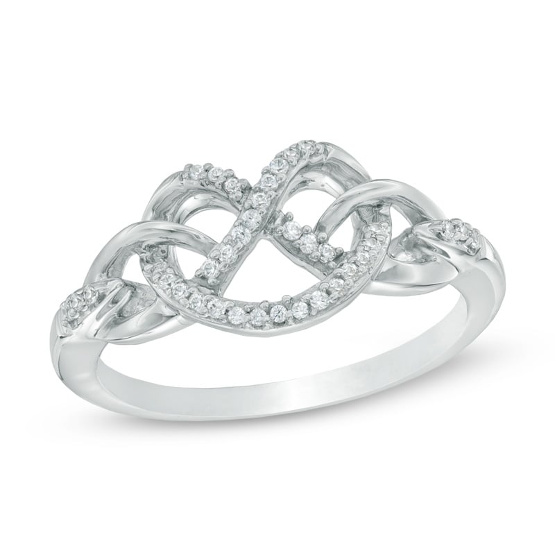 Zales Diamond Heart-Shaped Knot Ring in Sterling Silver ($129)